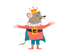 Vector Illustration In A Cartoon Style: Nutcracker Mouse King Character. Happy Nutcracker Mouse King Isolated.