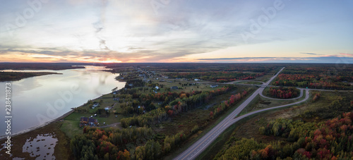 Spoed Foto op Canvas Grijze traf. Aerial panoramic view of a Highway Junction during a vibrant sunset. Taken in New Brunswick, Canada.