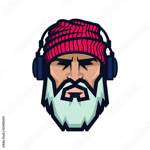 Photo Stands Fairies and elves Bearded man in a knitted hat and headphones. DJ Hipster