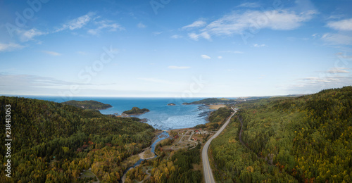 Fotografie, Obraz Aerial panoramic landscape view of Bic National Park during a vibrant sunny day