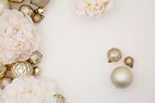 Christmas Balls On White Backg...