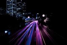 Traffic Lights At Night In The City Of Tel Aviv, Israel