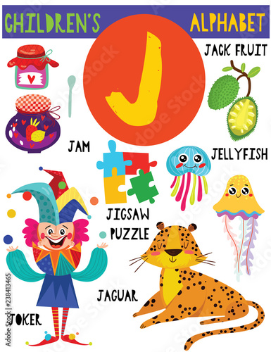 Letter J.Cute children's alphabet with adorable animals and other