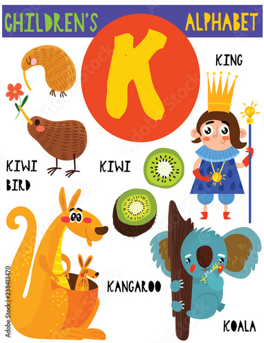 Things With Letter K.Letter K Cute Children S Alphabet With Adorable Animals And Other