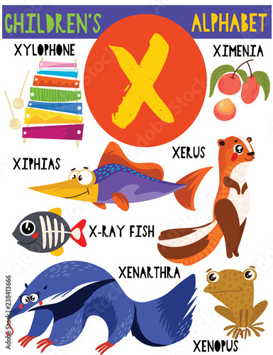 Letter X.Cute children's alphabet with adorable animals and other