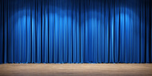 Empty Theater Stage With Blue ...