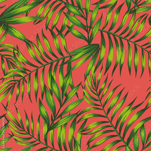 Living coral background green tropical leaves Wall mural