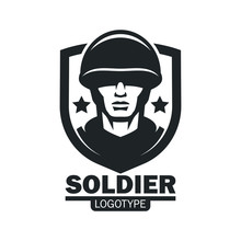 Military Soldier Logo Mascot Template. Soldier Special Force Vector Icon. Warrior Mascot