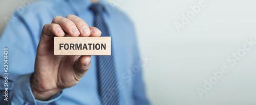 Slika na platnu Businessman showing Formation word in wooden block.