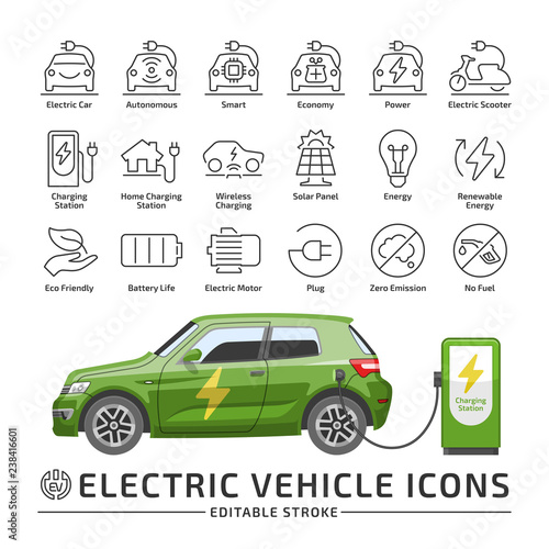 Photo Electro vehicle editable stroke line icon set with electric eco car hatchback vector green mockup with charge station