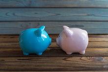 Two Piggy Banks, Pink And Blue...