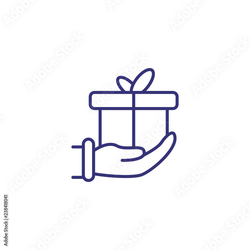 Gift In Hand Line Icon Donation Birthday Present Surprise Christmas Concept Vector Illustration Can Be Used For Topics Like Holiday Celebration