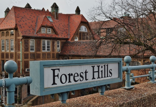 Forest Hills Queens New York Sign Old Tudor Style Building Background Canvas Print