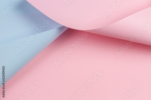 Fotografie, Obraz  Abstract geometric shape pastel pink and blue color paper background