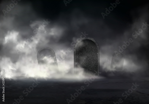 Fotografija Old cemetery at night realistic vector with sloping gravestones covered thick fog in darkness illustration