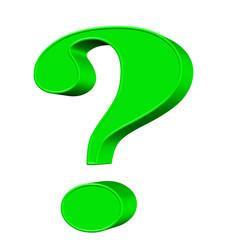 Grünes Fragezeichen vor weißem Hintergrund