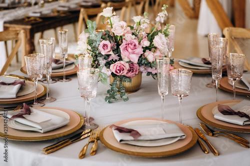 Fototapeta Beautiful decoration fo the wedding table.