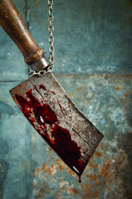 Old Bloody Meat Cleaver Hangin...