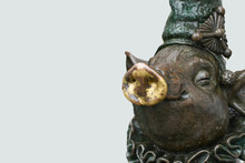 A Bronze Sculpture Of A Pig, Copy Space