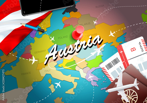 Fotografie, Obraz  Austria travel concept map background with planes, tickets