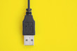 canvas print picture - Black USB plug lies on a bright yellow background.