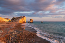 Beautiful Afternoon View Of The Beach Around Petra Tou Romiou, Also Known As Aphrodite's Birthplace, In Paphos, Cyprus.