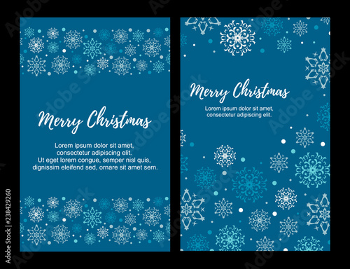 Fototapeta Vector Illustration. Set of Vertical Merry Christmas greeting card with blue and white snowflakes on dark blue background. Christmas design for banners, posters, massages obraz na płótnie
