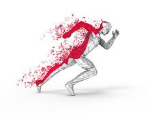 Running Man - Pixel Polygon Trails