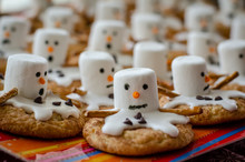 Melted Snowman Cookies On A Plate