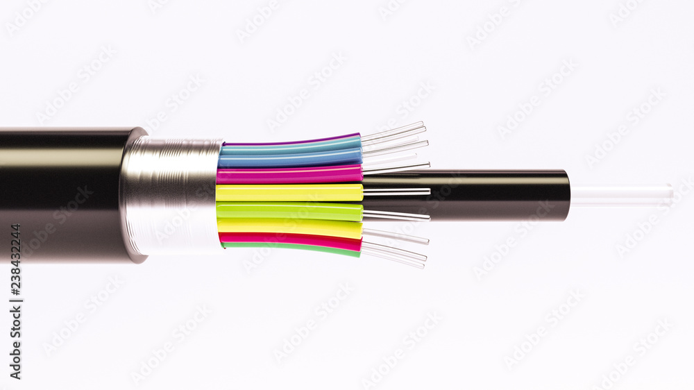 Fototapety, obrazy: Fiber optical cable detail - Highspeed cable - 3D Rendering
