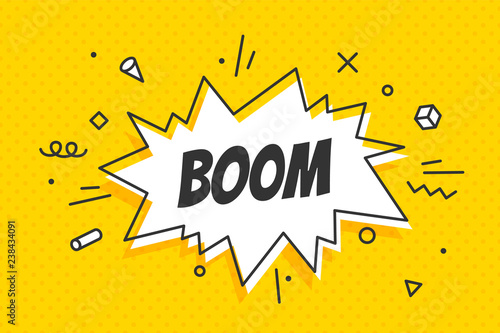 Fotografia Boom, speech bubble. Banner, speech bubble, poster and sticker