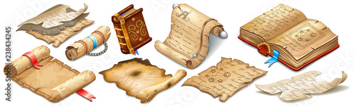Set isometric books of magic spells and witchcraft, royal scrolls and parchments, old sheets of paper for computer game. Fairy tale icon in cartoon style. Isolated 3d vector illustration.