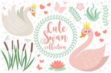 Cute Swan Princess Character Set Of Objects. Collection Of Design Element With Swans, Reeds, Water Lily, Flowers, Plants. Kids Baby Clip Art Funny Smiling Animal. Vector Illustration