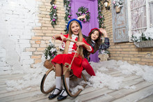 Ho Ho Ho. Child Enjoy The Holiday. The Morning Before Xmas. Little Girls On Sledge. Christmas Tree And Presents. Happy New Year. Winter. Xmas Online Shopping. Family Holiday