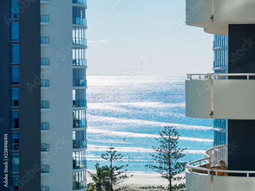 Apartment buildings by beach