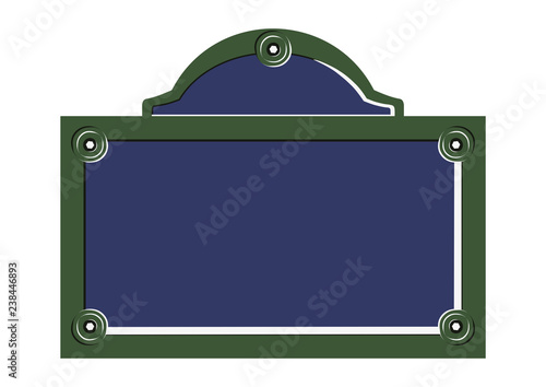 Obraz Paris street sign. Flat vector of blank French street plate. - fototapety do salonu