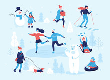 People In The Park Having Fun And Winter Activities, Skiing, Skating, Girl Walking The Dog, Child Making A Snowman, Children Sledding On Mountain Slope. Couple On Skate Rink. Winter Mood Flat Concept.