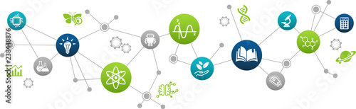 STEM science concept / various scientific research fields / science education - vector illustration
