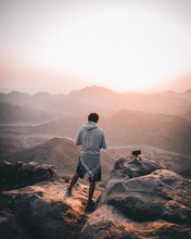A Man Standing On A Mountain In Egypt