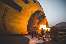 A Hot Air Balloon Being Set Up