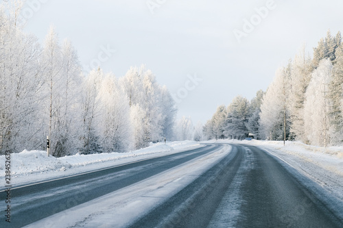 Recess Fitting Blue sky Winter road and Snowy Forest in Cold Finland