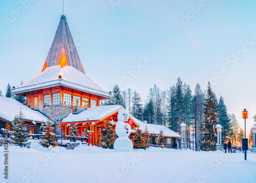 Snowman at Santa Office in Santa Claus Village in Rovaniemi