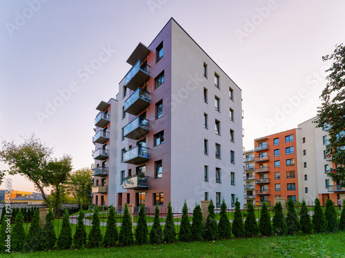 Obraz Modern apartment house flat building real estate outdoor - fototapety do salonu
