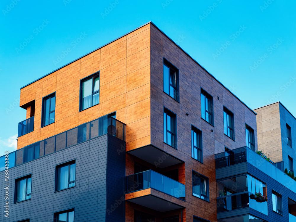 Fototapeta Modern new apartment flat building architecture