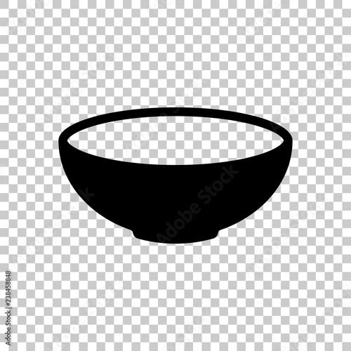 Valokuva Empty bowl icon. Sign of kitchen. Black symbol on transparent ba
