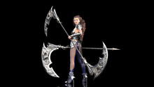Ancient Warrior Princess, Female Fantasy Fighter In Battle Armor Holding Medieval Scythe Blades, Isolated On Black, 3D Rendering