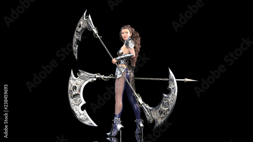 Cuadros en Lienzo Ancient warrior princess, female fantasy fighter in battle armor holding medieva