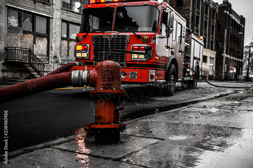 fire truck on the road Poster Mural XXL