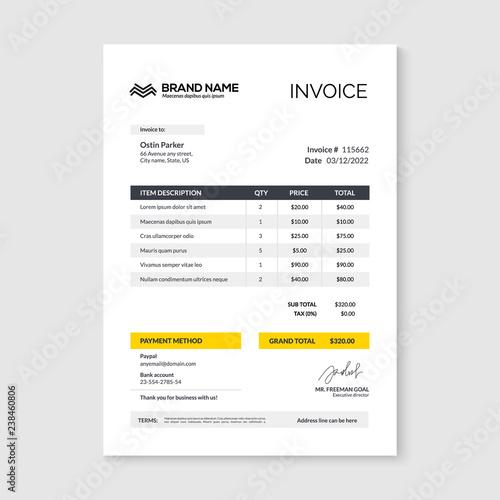 Obraz Invoice minimal design template. Bill form business invoice accounting - fototapety do salonu