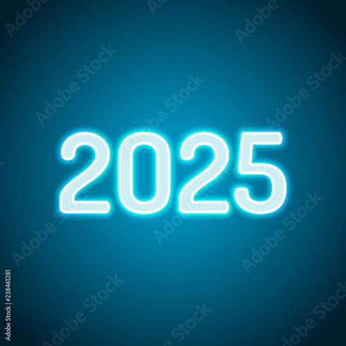 Fotografia  2025 number icon. Happy New Year. Neon style. Light decoration i